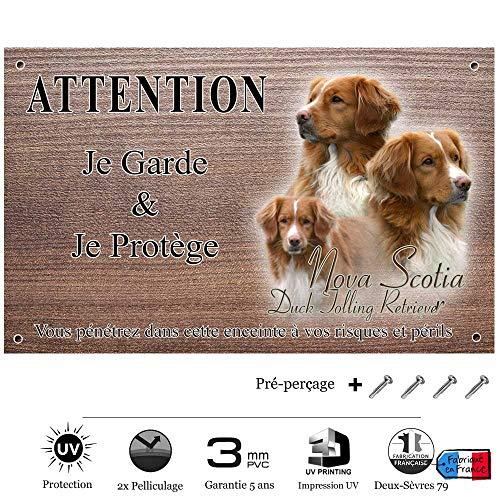 Pets-Easy.com Attention Chien de Garde personnalisée Nova Scotia - pré perforée et vis données. De 30 cm à 15 cm…