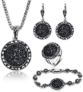LUYUAN JEWELRY 4 PCS Black Jewelry Set for Women Diamond...