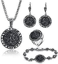 LUYUAN JEWELRY 4 PCS Black Jewelry Set for Women Diamond Drusy Agate Pendant Women Necklace Earring Ring and Bracelet Wedding Jewellery