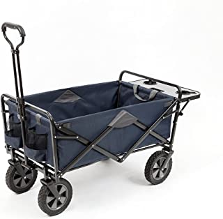 Mac Sports Collapsible Outdoor Utility Wagon with Folding Table and Drink Holders, Blue