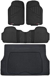 Motor Trend Flextough Rubber Car Floor Mats & Cargo Trunk Mat Set Black Heavy Duty - Odorless, Extreme Duty (Black) - MT-773-884-BK