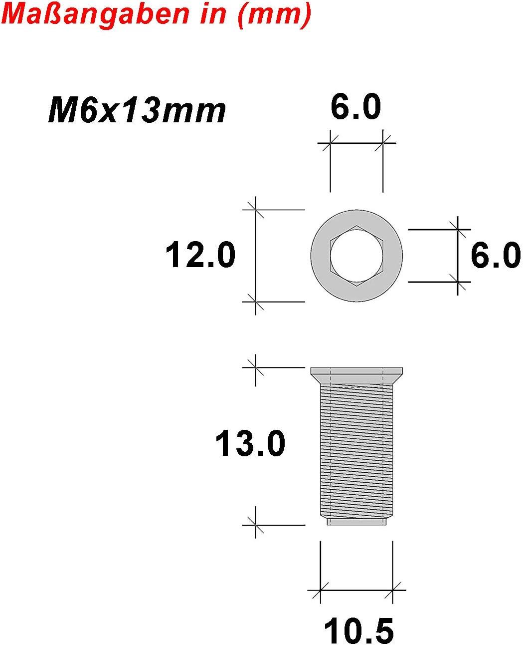 LIKERAINY 200pcs Vis /à Douille /Écrou Hexagonal Filet/é M6 x13mm Vis dInsert pour Travail du Bois Jambe de Meubles /Écrous de But/ée
