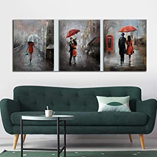 zxianc Lovers Walk in The Rainy Night of Oil Painting, Modern Street People, Urban Scenery Poster Wall Decoration Painting 50x50cm Frameless