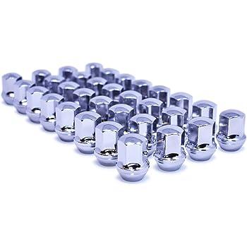 9//16-18 Thread Conical 60 Degree Seat 7//8 Hex Mastiff 2020 Triple Chrome Plating One-Piece Chrome, 32 Bulge Acorn Lug Nut Set 22mm