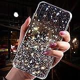 Uposao Compatibile con Samsung Galaxy A50 Custodia Silicone Morbida Trasparente Cover Glitter Brillantini Bling Paillettes Case Antiurto Bumper Ultra Sottile Cover,Glitter Stelle