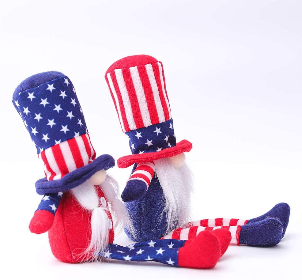 2Pcs Patriotic Gnome Veterans Day American President Election Decoration Uncle Sam Tomte 4th of July Gift Stars and Stripes Nisse Handmade Scandinavian Ornaments Kitchen Tiered Tray Decorations