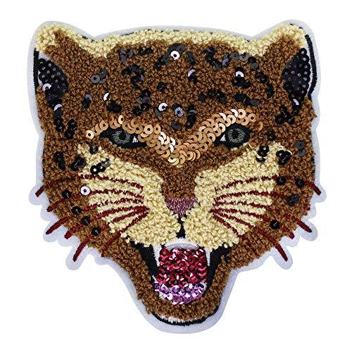 EMDOMO Cool luipaard hoofd handdoek borduurwerk Applique pailletten stof patch kleding naaien op insignes 2 stuks
