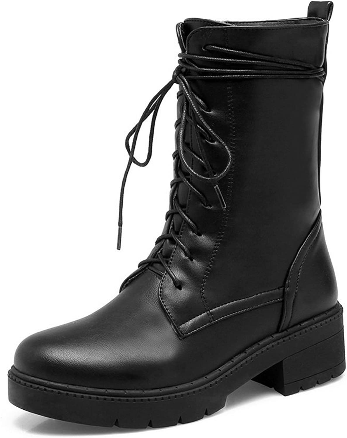 AandN Womens Boots Closed-Toe Lace-Up Adjustable-Strap Low-Heel Solid Urethane Novelty All-Weather Bootie Urethane Boots DKU01914
