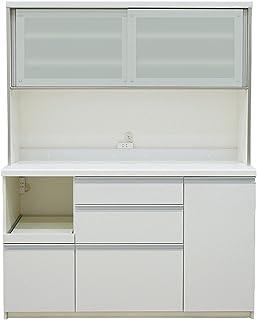 パモウナ 食器棚QF プレーンホワイト 幅140×高さ178×奥行50 日本製 QF-1400R