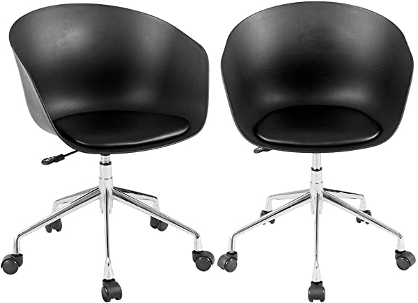AK Energy 2PCS Set Office Visitor PP Chair Swivel Height Adjustable Bar Rolling Desk Chairs Black Color