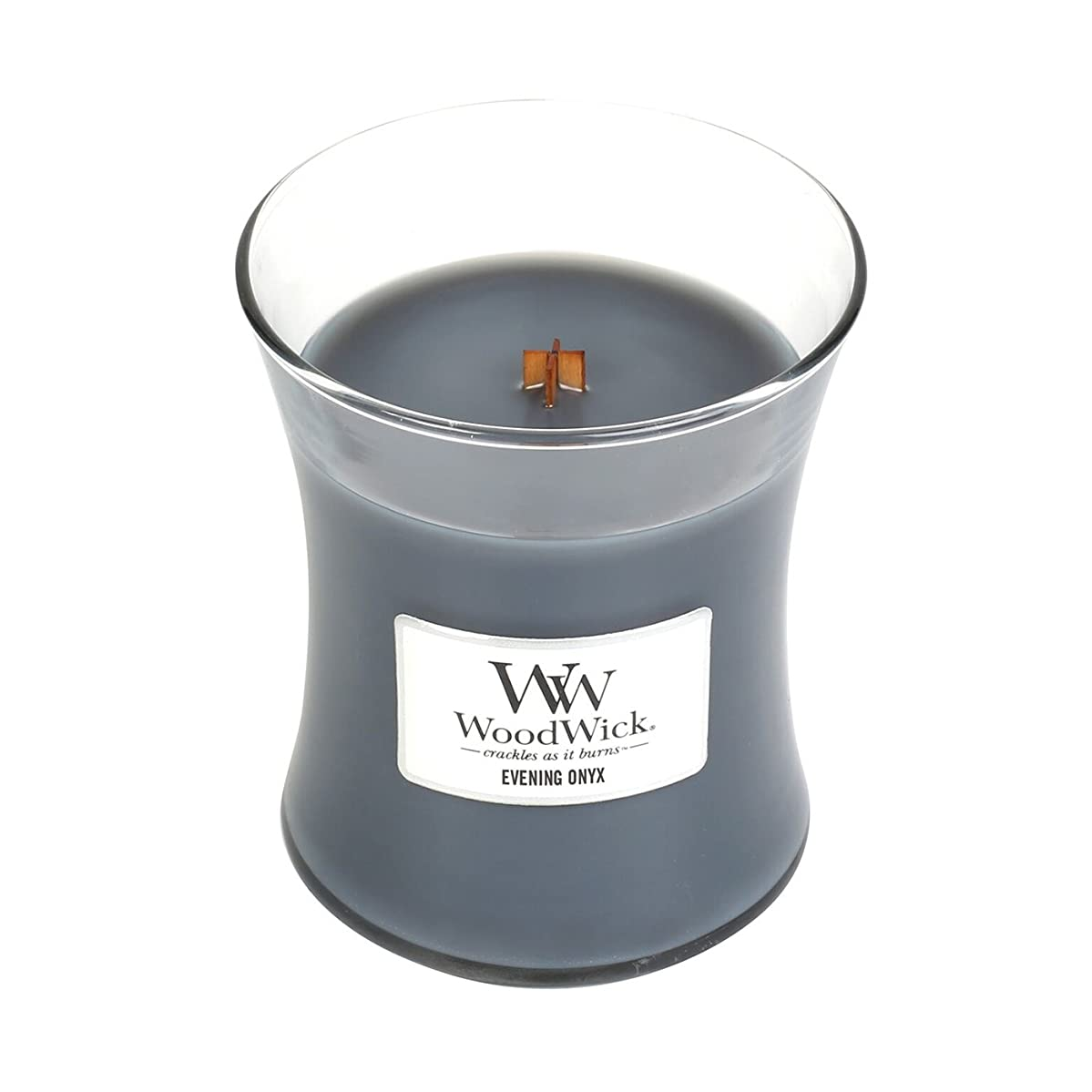 図無駄だスカート(Medium, Evening Onyx) - WoodWick Medium Hourglass Scented Candle, Evening Onyx