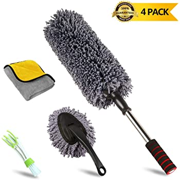 upra Ultimate Car Duster Kit, Set of 4, Best Extendable Microfiber Multipurpose Duster/Cleaning Dashboard Duster/Interior Car Detailing Brush/Lint Free Microfiber Cloths, Exterior or Interior Use