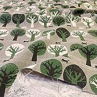 布人倶楽部 綿麻キャンバス 北欧風プリント 森の物語 108cm幅 (グレーベースグリーン, 50cm)