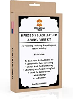 Strongman Tools | Black Leather and Vinyl Paint Repair Kit | Restore Your Sofa, Couch, Car Seats, Jackets, Shoes | Simple Instructions | Works with Vinyl, Bonded, PU, Bycast, Italian | Non Toxic