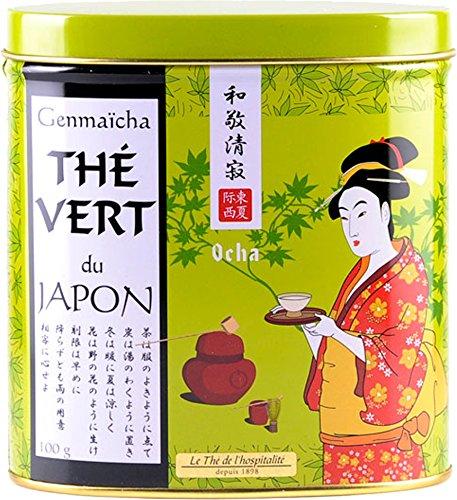 Terre d'Oc - Grüner Bio Sencha Tee mit geröstetem Reis (Thé vert genmaicha) in dekorativer Metalldose 100 g
