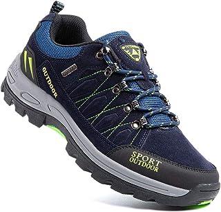 Zapatillas Trekking Hombre Antideslizantes Zapatos de Senderismo Transpirable Botas Montaña Bajas al Aire Libre Negro Azul...