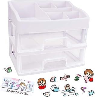 LZYMSZ Organiseur de bureau, boîte de rangement en plastique avec tiroirs, support pour papeterie, crayons et maquillage
