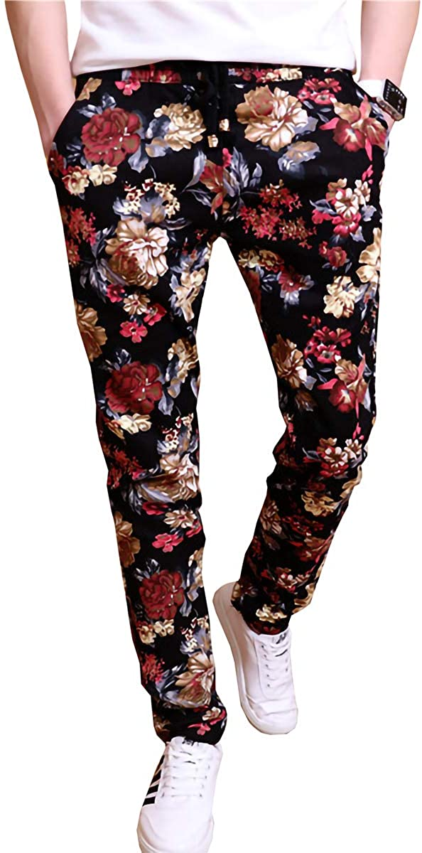 QZH.DUAO EMAOR Floral Printed Casual Slim Denver Mall All items in the store Fit Trous Flower Pants