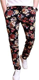 EMAOR Floral Printed Casual Pants Slim Fit Flower Trousers for Men