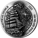 Power Coin Sedov Nautical Ounce Antique 1 Oz Moneda Plata 50 Francos Rwanda 2021