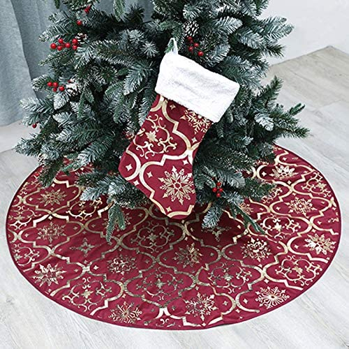 wlflash Christmas Tree Skirt 48 inches Snowy Pattern Xmas Tree Skirt for Christmas Tree Decorations Indoor Outdoor (W...