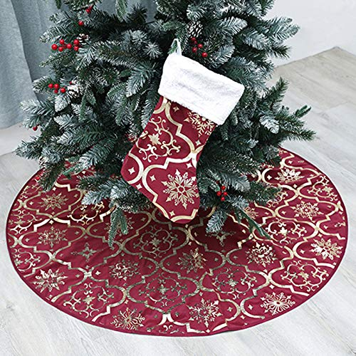 wlflash Christmas Tree Skirt 48 inches Snowy Pattern Xmas Tree Skirt for Christmas Tree Decorations Indoor Outdoor (Wine red)