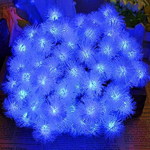 GFSDDS kerstverlichting bontbal sneeuwbal solar fairy slinger LED lichtketting, blauw