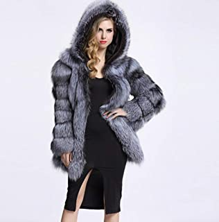 pcbhb Women Autumn Winter Parka Warm Jacket Fox Fur Stitching Faux Fur Coat Mink Coat Hooded Nine-Point Sleeve Gray-3XL