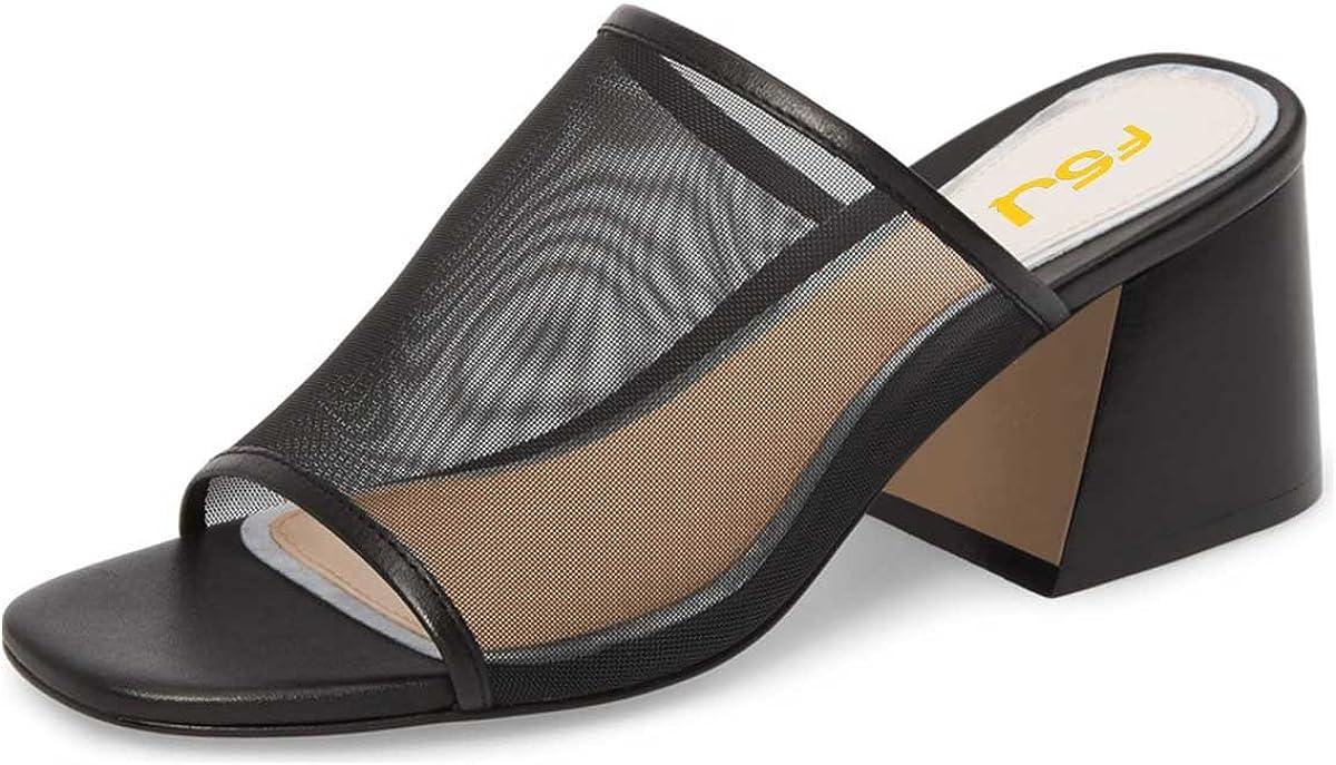 FSJ Women Comfortable Mesh Open Toe Sandals Chunky Heels Mules Slide Summer Shoes Size 4-15 US