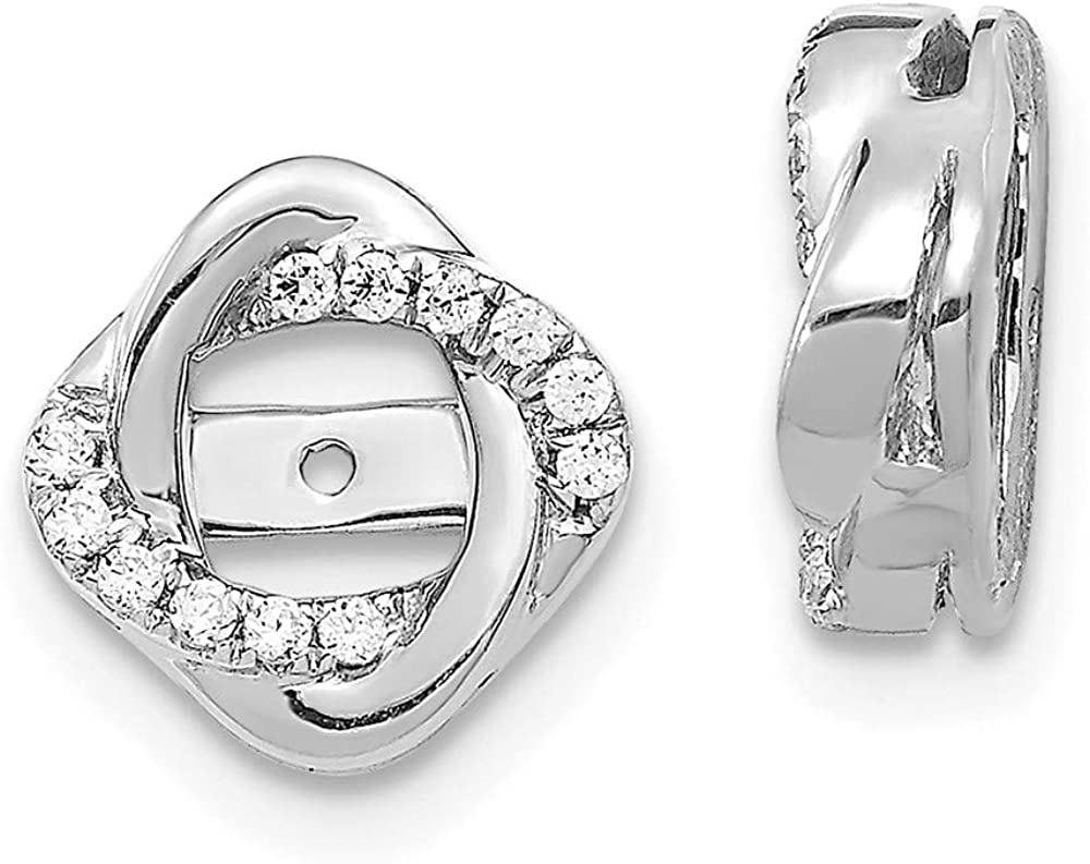 Solid 14K White Gold Diamond Jacket Earring 10mm (.12 cttw.)