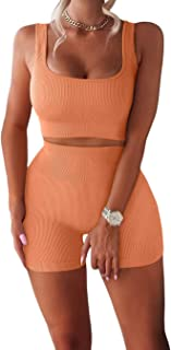 Workout Sets for Women 2 Piece Seamless Ribbed Crop Tank...