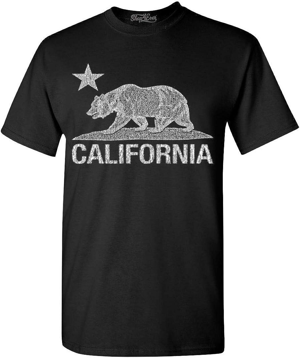 shop4ever California Distressed White Bear T-Shirt Cali Shirts