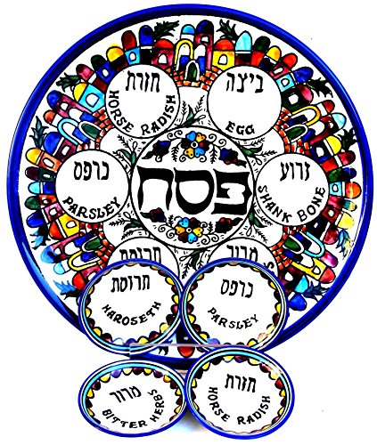 Sederteller für Pessach, (auch Passa(h) oder Pascha), Keramik, Dekoriert mit Abbildungen von Jerusalem