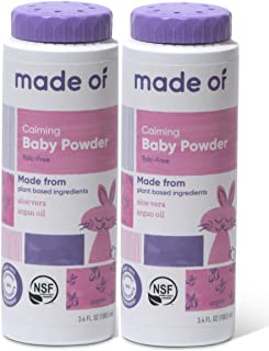 Organic Baby Powder by MADE OF - Talc Free Baby Powder for Sensitive Skin and Eczema - NSF Organic Certified - Made in USA - 3.4oz (Fragrance Free, 2-Pack)