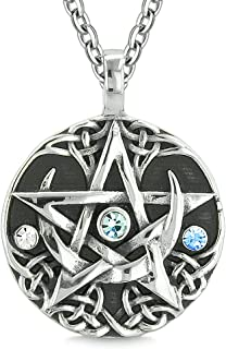 Amulet Pentacle Magic Super Star Celtic Flames Defense Blue Crystals Pentagram Pendant 18 Inch Necklace