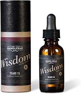 Wood Scent Premium Beard Oil for Men - Wisdom (Woodsy & Citrus Scent) Beard Oil | 1 Oz Dropper Top Amber Glass Bottle