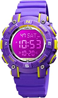 CakCity Kids Digital Sport Waterproof Watch - Outdoor LED 7 Color Lights Electronic Watches for Girls Boys with Luminous A...