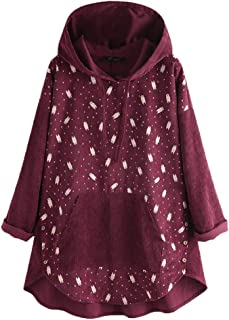WINJUD Womens Hoodie Plus Size Patchwork Print Top Long Sleeve Hooded Drawstring Pullover
