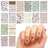 16 Sheet 3D Nail Decals Stickers, Self-Adhesive DIY Nail Art Decoration Set Including Cartoons Flowers Leaves Plants Fruits Patterns for Women Girls