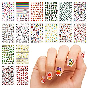 16 Sheet 3D Nail Decals Stickers Self-Adhesive DIY Nail Art Decoration Set Including Cartoons Flowers Leaves Plants Fruits Patterns for Women Girls