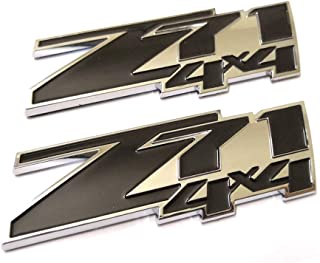 2pcs Small Z71 4x4 Emblem 3D Badge Replacement for GMC Chevy Silverado Sierra Tahoe Suburban Z71 4x4 Emblems New 1500 2500 3500 Decal (Chrome Black)
