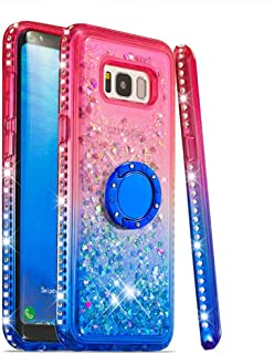 Case for Galaxy S8+/S8 Plus,Luxury Brilliant Flowing Floating Quicksand Soft TPU Case with Finger Ring Holder Diamond-Set Side Bling Sparkle Glitter Case Compatible with Samsung Galaxy S8+/S8 Plus