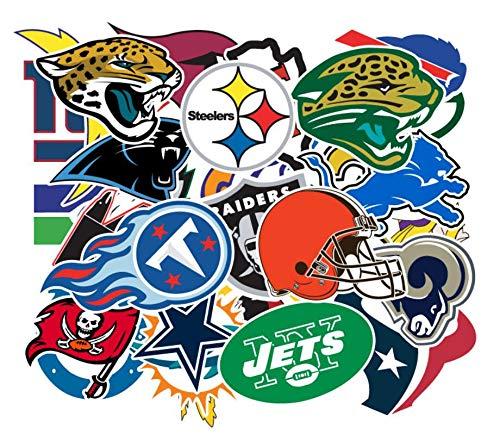 Stickers for Football NFL New England Patriots Philadelphia Eagles Badge Soccer Star Sports Fans, Laptop Water Bottle Hydroflask Computer Car Skateboard Cool Waterproof Vinyls Sticker Decal 32pcs