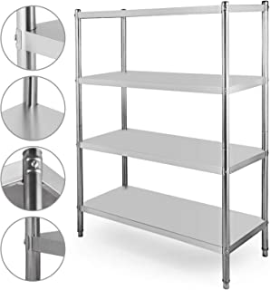 Happybuy Stainless Steel Shelving Units Heavy Duty 4 Tier Shelving Units and Storage Shelf Unit for Kitchen Commercial Office Garage Storage (4-Tier 400LB per Shelf)