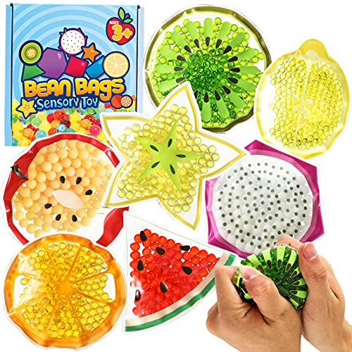 Sensory Water Beads Toy for Kids 7 Pack, Shapes Learning Toy for Kidrs, Fidget Stress Balls for...