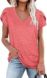 Womens Tops V Neck Summer Petal Sleeve Casual Tshirts