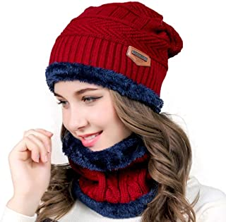 Aispark Winter Beanie Hat Scarf Set Warm Knit Hat Thick Knit Skull Cap for Men Women