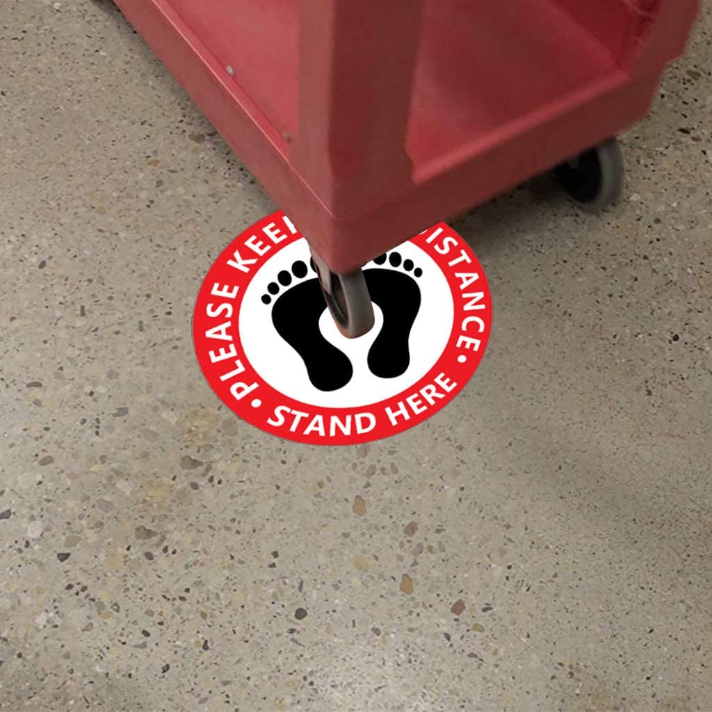 RED Coedfa 10pcs Distance Marker Floor Decal for Social Distancing,Please Practice Wait Distancing Sign for Floor//Durable and Eye Catching 10.5X10.5(266x266mm)