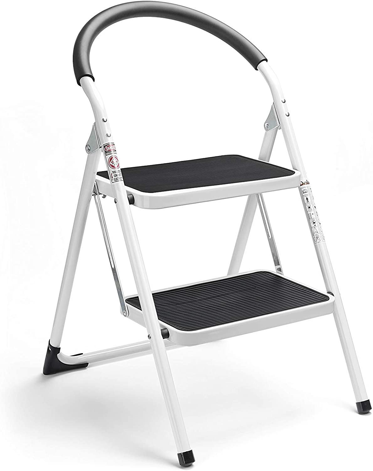 Delxo 2 Step Stool Folding Step Stool Steel Stepladders with Handgrip Anti-Slip Sturdy and Wide Pedal Steel Ladder 330lbs White and Black Combo 2-Feet (2 Step Stool)