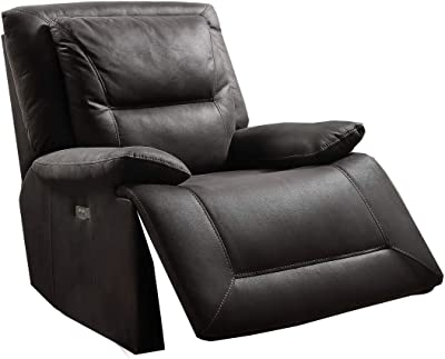 Benjara Fabric Swivel Power Motion Recliner with Contrast Stitching, Black